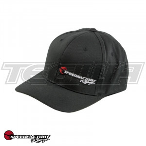SPEEDFACTORY RACING LOGO EMBROIDERED FLEX FIT BLACK HAT CURVE BILL