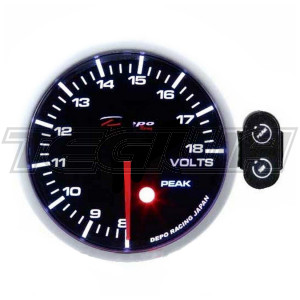 DEPO RACING PK-WA 52MM LED VOLT GAUGE WITH PEAK/CONTROL BOX