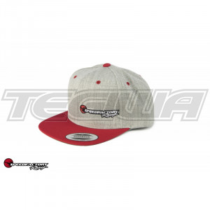 SPEEDFACTORY RACING GREY LOGO EMBROIDERED FLEX FIT CAP FLAT BILL